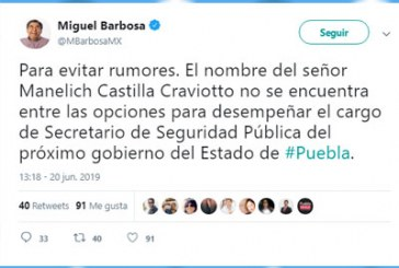 Frena Barbosa rumores sobre perfil para Seguridad
